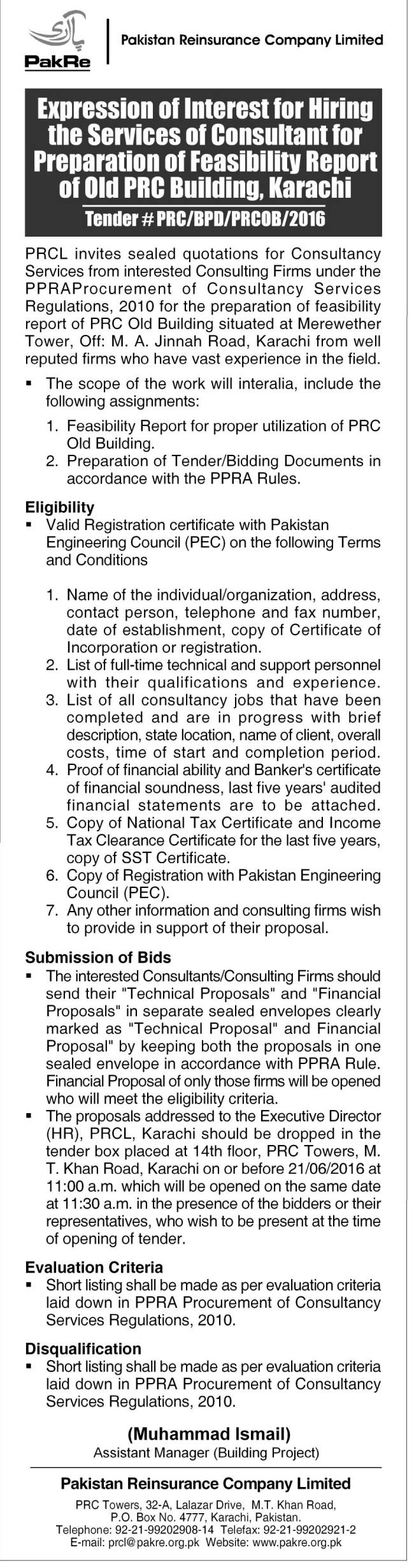 Pakistan Reinsurance Company Limited - Expression of